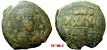 Ancient Coins - 305RM1) Phocas. 602-610. Æ Follis (30 mm, 12.31 g, 6h). Constantinople mint, 2nd officina. Struck 604/5-609/10. [∂] N FOCAS PЄRP A[VG], crowned bust facing, holding cross and mappa