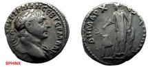 Ancient Coins - 640KF) CAPPADOCIA, CAESAREA, TRAJAN 98-117 AD, AR DRACHM, 18 MM, 3.57 GRAMS, LAUREATE HEAD RIGHT, REV. ARABIA STANDING WITH CAMEL TO LEFT, Cf.SYD. 189, SNG COP. 205, IN VF COND.
