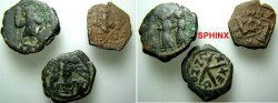 Ancient Coins - 307RR1) STUDY GROUP CONSISTING OF 3 BYZANTINE BRONZE FOLLIS, IN AVERAGE FINE+ / VF CONDITION. THIS IS AN EXCELLENT STUDY GROUP AND MAY INCLUDE SCARCE TO RARE COINS; PLEASE HAVE A L