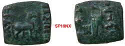 Ancient Coins - 316FH7X) INDO-SKYTHIANS. Maues. Circa 125-85 BC. AE (18 X 20 mm, 4.55 g, 12h). Horse standing right / Bow in bowcase; monogram to left.   Senior 6.2. VF, dark green patina. RARE