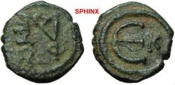 Ancient Coins - 472RR1) Justin II. 565-578. � Pentanummium (14 mm, 1.71 g, 6h). Cyzicus mint. Struck 565-578. Monogram of Justin II / Large ?; K to right. DOC 137; SB 375. VF, green patina.