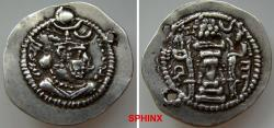 Ancient Coins - 316EL19) SASANIAN KINGS. Peroz I. AD 457/9-484. AR Drachm (31 mm, 4.07 g). AS (Aspahan?) mint. Crowned bust right,   crescent on forehead / Fire altar with attendants and ribbon