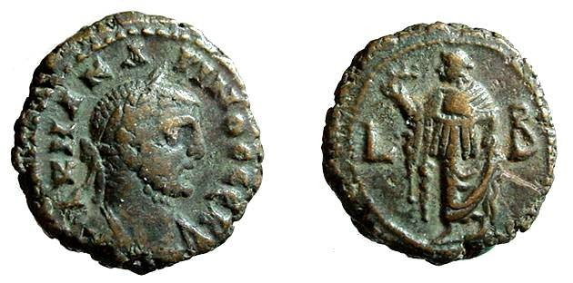 Ancient Coins - 69CK) ROMAN, EGYPT, ALEXANDRIA, CARINUS, 282-285 AD, AE TETRADRACHM, 17.5 mm, 8.02 grms,ELPIS REV RAISING SKIRT AND HOLDING FLOWER. YEAR L B i.f. CURTIS 1917, BMC 2454 IN VF COND.