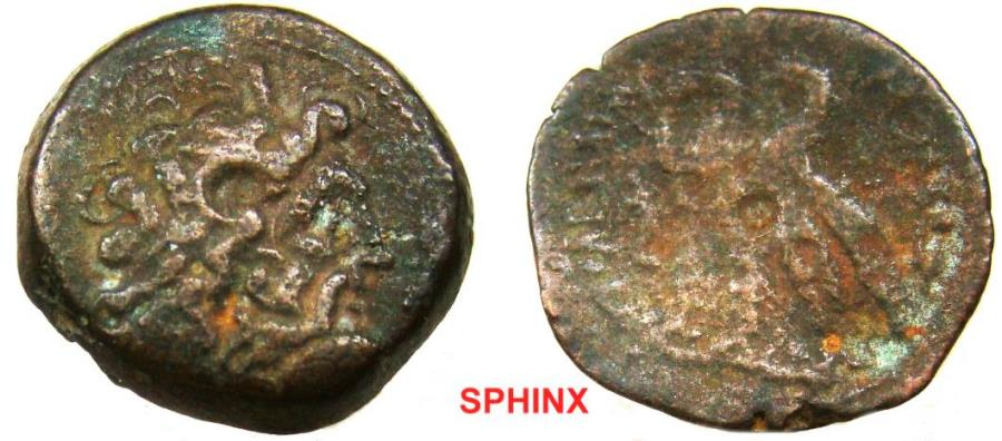 Ancient Coins - 245KG9X) Egypt Ptolemaic Kings, Ptolemy VI Philometor, 180-145 BC, AE 20 mm, 6.01 grms, Obv. Diademed head of Zeus Ammon right, Rev. Pair of eagles standing left on thunderbolt; Sv