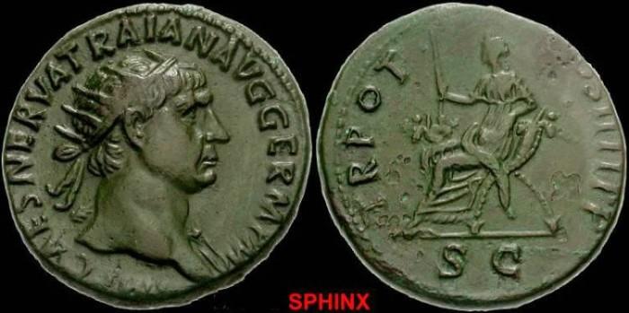 Ancient Coins - 285CEE)Trajan.AD 98-117. Æ Dupondius (26mm, 13.61 g) VF