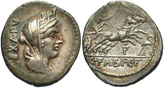 Ancient Coins - 621LB) C. Fabius C. f. Hadrianus. 102 B.C. AR denarius (19 mm, 3.90 g). EX. A. P, veiled and turreted bust of Cybele right / C. FABI. C. F. in exergue, Victory driving galloping bi