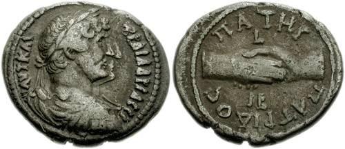 Ancient Coins - 120LG) EGYPT, Alexandria. Hadrian. 117-138 AD. BI Tetradrachm (28mm, 12.82 gm). Dated RY 12 (127/8 AD). Laureate bust right, slight drapery on far shoulder , clasped hands; VF