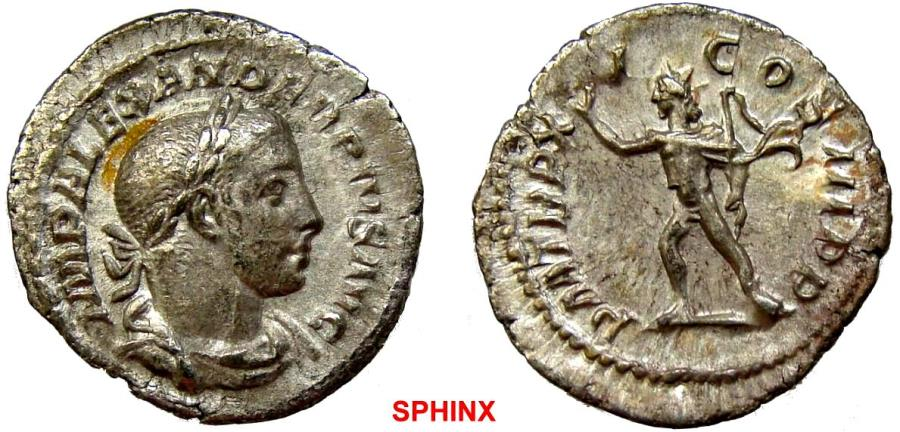 Ancient Coins - 130EM17) Severus Alexander. AD 222-235. AR Denarius (20.5 mm, 2.62 g, 11h). Rome mint. 15th emission, AD 232. Laureate and draped bust right / Sol standing left, raising right hand