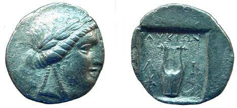 Ancient Coins - 407GREEK) LIMYRA in the Lycian League AR Drachm 2.72 gr; 168 BC ff. Laureate head of Apollo right with two braids at neck, Rv., lyre between symbols, all within incuse square; VF