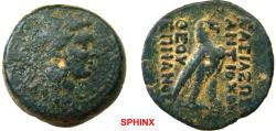 """Ancient Coins - 25FR7Z) """"Egyptianizing"""" series. SELEUKID EMPIRE. Antiochos IV Epiphanes. 175-164 BC. AE (26.5 mm, 19.74 g, 1h). Antioch on the Orontes mint. Struck 169-168 BC. Head of Isis right,"""