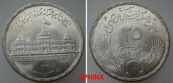 World Coins - 457SX) EGYPT, REPUBLIC, 25 Piasters, 17.5 grms, 0.720 silver, commemorating Suez Canal nationalization,  dually dated 1375 AH and 1956 AD; KM 385,  Brilliant Uncirculated.