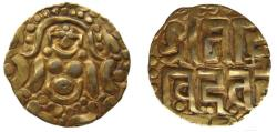 Ancient Coins - 191050-M) INDIA: Gahadavalas of Kanauj and Kasi: AV Stater 3.97g, 20mm ( 4 ½ Masha) Ruler: Govinda Chandra (c.1114-1154)  191050-M) INDIA: Obv: Crude rendering of a Kalachuri-style