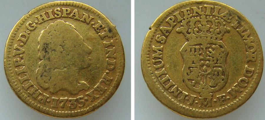 World Coins - 191325-M) SPAIN: AV Escudo, Felipe V, Mint: Madrid, 1735JF