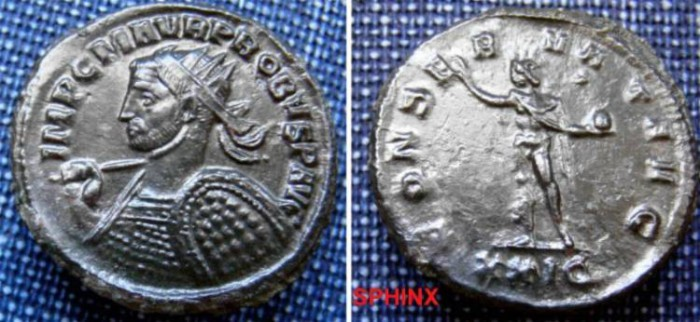 Ancient Coins - 170HL0) Probus. AD 276-282. Antoninianus (23mm, 3.83 g, 7h). Siscia mint, AD 278. Radiate and cuirassed bust left, holding spear and shield / Sol standing slightly right, head left