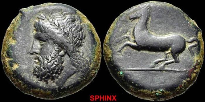 Ancient Coins - 56EEB9) SICILY, Syracuse. Timoleon and the Third Democracy. 344-317 BC. Æ Drachm (26mm, 19.11 g, 11h).