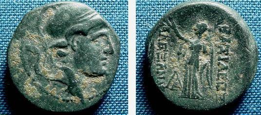 Ancient Coins - 141SLC) THE SELEUCID KINGDOM OF SYRIA, ALEXANDER I BALAS, 150-145 BC, AE18 UNIT, OBV. HEAD OF ALEXANDER WEARING FLANGED ATTIC HELMET, REV. NIKE STANDING LEFT,SNG ISRAEL # 1472-6