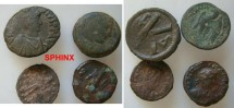 Ancient Coins - 7BGN0)  STUDY GROUP CONSISTING OF A BYZANTINE AE FOLLIS, A ROMAN EGYPTIAN AE TETRA, A LATE ROMAN AE, AND A MEDIUM SIZE PTOLEMAUC BRONZE, IN AVERAGE  FAIR TO FINE+  CONDITION.