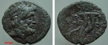 Ancient Coins - 839FG8) PHOENICIA, MARATHUS, SECOND CENT. BC, AE 21 X 22 MM, 5.08 GRMS, LAUREATE HEAD OF ZEUS RIGHT, REV. DOUBLE CORNUCOPIAE;  SNG COP. 169-172, IN aVF COND.