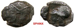 Ancient Coins - 939RF17) MYSIA, Lampsakos. Circa 500-450 BC. AR Diobol (9mm, 0.94 g). Female janiform head / Helmeted head of Athena left within incuse square. SNG France 1126; RARE