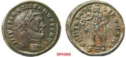 Ancient Coins - 295RK17) Maximianus (298-299 AD) AE Follis, 9.92 grms, 28 mm,Ticinum mint; Obv.: IMP C MAXIMIANVS PF AVG, Laureate head right.Rev.: GENIO POPV-LIROMANI, Genius naked
