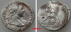 Ancient Coins - 234GG18) Trajan. AD 98-117. AR Denarius (18 mm, 2.83 g). Rome mint. Struck circa AD 107-108. IMP TRAIANO AVG GER DAC P M TR P P, laureate bust right, slight drapery on shoulder VF