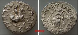 Ancient Coins - 944GE0Z) BAKTRIA, Greco-Baktrian Kingdom. Antimachos II Nikephoros. Circa 160-155 BC. AR Drachm (17 mm, 2.35 g, 11h). Nike advancing left, holding palm and open diadem; monogram to