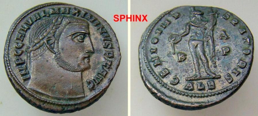 Ancient Coins - 556FF4) Maximinus II. AD 310-313. Æ Follis (25 mm, 6.77 g, 12h). Alexandria mint, 4th officina. Struck AD 310. Laureate head right / Genius standing left, holding patera VF