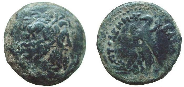 Ancient Coins - 856GLS)  EGYPT, PTOLEMAIC KINGDOM, PTOLEMY VI PHILOMETOR, 180-145 BC, AE18 MM, 4.38 GRAMS, OBV. ZEUS HEAD RIGHT ; REV. EAGLE LEFT WITH CORNUCOPEA ON SHOULDER;  IN FINE COND. AND NI