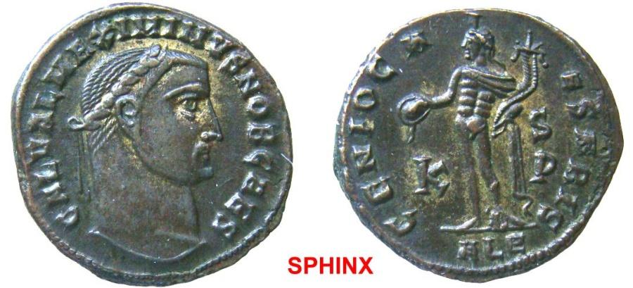 Ancient Coins - 548FF4) Maximinus II. As Caesar, AD 305-309. Æ Follis (23.5 mm, 6.94 g, 12h). Alexandria mint, 6th officina. Struck AD 308-309. Laureate head right / Genius standing left, EF