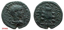 Ancient Coins - 516EK8) Volusian, 251 - 253 AD, AE 22 mm, 6.8 grms, Antioch Mint. Rx: ANTIOCHI OCLO, Legionary eagle between standards, S R above exergue. SNG Cop 88(var) in VF cond.
