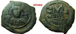 Ancient Coins - 329EE1) Maurice Tiberius. 582-602. AE Follis (29.5 mm, 12.07 g, 7h). Nicomedia mint, 2nd officina. Dated RY 10 (591/2). Crowned facing bust, wearing consular robes, holding mappa a