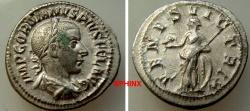 Ancient Coins - 147EM17) Gordian III. AD 238-244. AR Denarius (20 mm, 2.58 g, 1h). Rome mint, 5th officina. 7th emission, AD 240. IMP GORDIANVS PIVS FEL AVG, laureate, draped, and cuirassed VF+