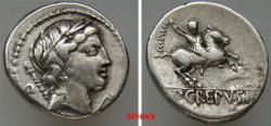 Ancient Coins - 572CCE0Z) Pub. Crepusius. 82 BC. AR Denarius (17.5 mm, 3.84 grms). Rome mint. Laureate head of Apollo right, scepter over shoulder; grasshopper below chin / Horseman galloping righ