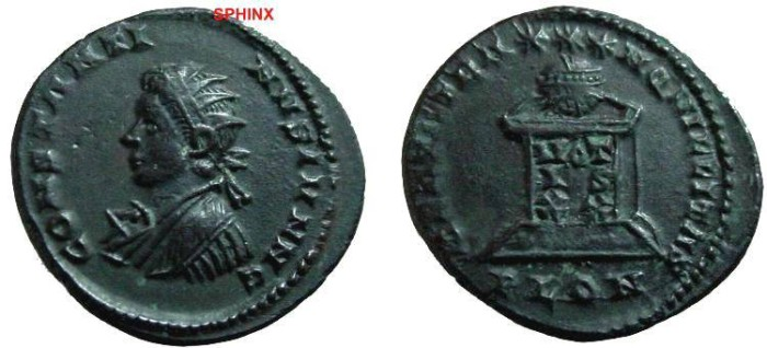 Ancient Coins - 574GG) Constantine II, AE3, 321-322, London, Officina 1.  CONSTANT_INVS IVN NOB C  Radiate, draped, cuirassed bust left.  RIC VII, 236. VF.