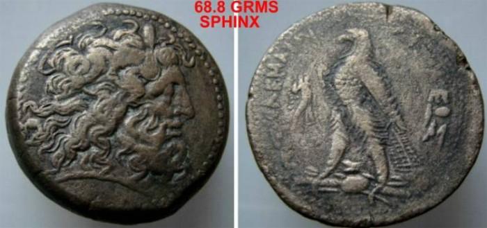 Ancient Coins - 1038ML9) KINGS OF EGYPT, PTOLEMY IV PHILOPATOR, 221-205 BC, AE 41.5, 68.8 Grams , diademed Zeus-Ammon head; Rev. eagle standing left on thunderbolt, cornucopea before, monogram VF