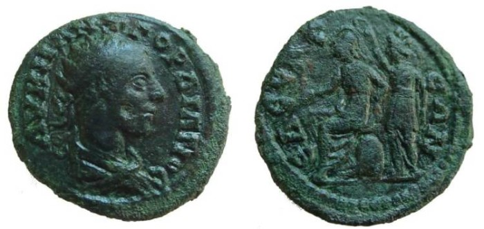 Ancient Coins - 566FL) MACEDON, Edessa. Gordian III. AD 238-244. Æ 27mm (8.86 g). Struck AD 241-242. Radiate bust right, seen from behind / EDECEAIWN, Roma seated left on cuirass, holding Nike and