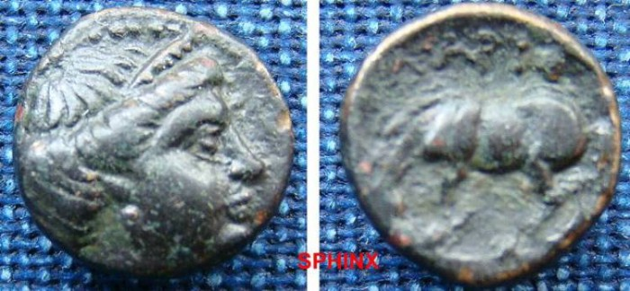 Ancient Coins - 587EK0) Thessaly, Larissa. Ca. 380-337 BC. Æ 12 mm (1.6 g). Head of the nymph Larissa right, wearing stephane / Horse standing left, about to roll. Rogers 296; SNG Copenhagen 144.