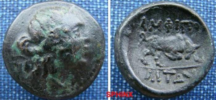 Ancient Coins - 584EK0) Macedon, Amphipolis. Ca. 187(?)-31 B.C. Æ 21 mm (7.9 g). Laureate head of Apollo right / Bull butting right. SNG ANS 113.