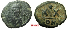 332RR1) PHOCAS. Æ 20 Nummi (4.38 gm). Constantinople mint. Struck 603-610 AD. d N FOCA PERP AVC, crowned bust facing, wearing consular robes, holding mappa and cross / Large XX; ab