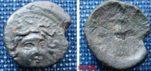 Ancient Coins - 592EK0) Macedon, Amphipolis. Pseudo-autonomous issue. Early 1st century A.D. Æ 14 mm (1.5 g). Facing gorgoneion / Athena standing left, holding Nike and resting hand on grounded sh