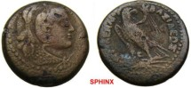 Ancient Coins - 505KM1)  PTOLEMAIC KINGS of EGYPT. Ptolemy II. 285-246 BC. Æ 24 mm (10.36 g). Alexandria mint. Head of Alexander the Great right, wearing elephant's skin headdress / Eagle   VF