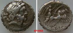 Ancient Coins - 578CCE0Z) Q. Antonius Balbus. 83-82 BC. AR Serrate Denarius (19 mm, 3.93 grms). Rome mint. Laureate head of Jupiter right, SC behind  / Victory driving quadriga right, holding rein
