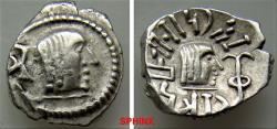 Ancient Coins - 330FC9X) ARABIA FELIX, Himyarites & Sabaeans. 'Mdn Byn(?). Mid-late 1st century AD. AR Unit (15 mm, 1.85 grms). RYDN (Raidan?) mint. Head right; monogram to left / Head right; 'sce