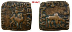 Ancient Coins - 322RR18) INDO-SKYTHIANS. Azes. Circa 58-12 BC. Æ Unit (24 x 24 mm, 12.21 g). King right on dromedary (Bactrian camel), holding ax / Zebu or yak standing right, grazing; VF