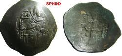 Ancient Coins - 213EC9) BYZANTINE EMPIRE, MANUEL I COMENUS, 1143-1180 AD, BILLON ASPRON TRACHY, 3.61 GRAMS, VIRGIN ENTHRONED FACING; REV. MANUEL STANDING FACING WEARING CROWN, REF SB 1964, IN FINE