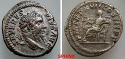 Ancient Coins - 879GL17) SEPTIMIUS SEVERUS. 193-211 AD. AR Denarius (3.24 gm). Struck 209 AD. SEVERVS PIVS AVG, laureate head right / P M TR P XVII COS III P P, Salus seated left, feeding serpent
