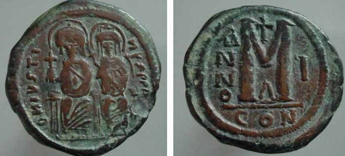 Ancient Coins - 155EE) BYZANTINE EMPIRE, JUSTIN II, 565-574 AD, AE FOLLIS, 29.5 MM, 15.95 GRMS, D.N.IVSTINVS PP.AVG. JUSTIN I TO LEFT AND SOPHIA ON RIGHT, REV. LARGE M WITH CROSS ABOVE, MINT OF CO