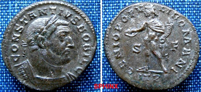 Ancient Coins - 916LE0) Constantius I. AD 305-306. Æ Follis (26 X 28 mm, 9.58 g, 6h). Treveri (Trier) mint, 1st officina. Laureate and cuirassed bust right / Genius standing left, VF