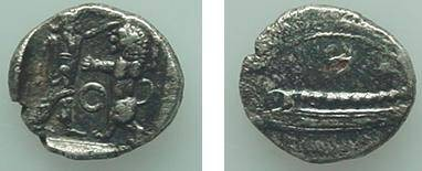 "Ancient Coins - 404GREEK) SIDON 1/8 SHEKEL, BEFORE 333 BC, 0.65 GRAMS, SPEC. GRAVITY 9.02, BEARDED DEITY ABOUT TO SLAY LION; "" O "" BETWEEN THEM; REV. GALLEY, HEAD P.795; SEAR 5940; VF"