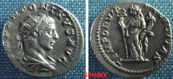 Ancient Coins - 779GM8) ELAGABALUS, 218-222 AD, AR ANTONINIANUS (DOUBLE DENARIUS), RSC-280, RIC 149, IN VF+ CONDITION. TONED.